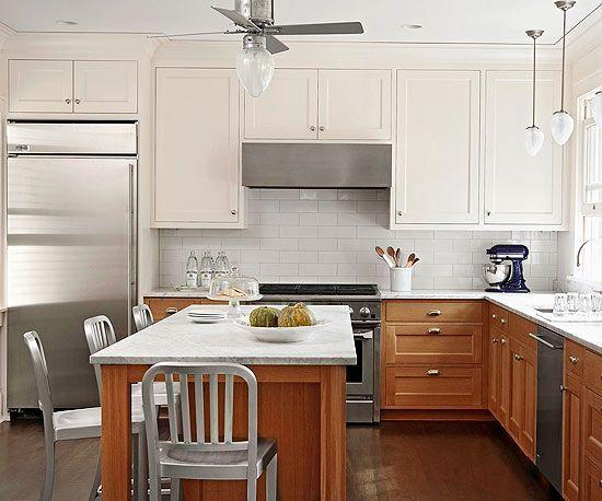Wood Bottom Cabinets White Upper Cabinets Kitchen