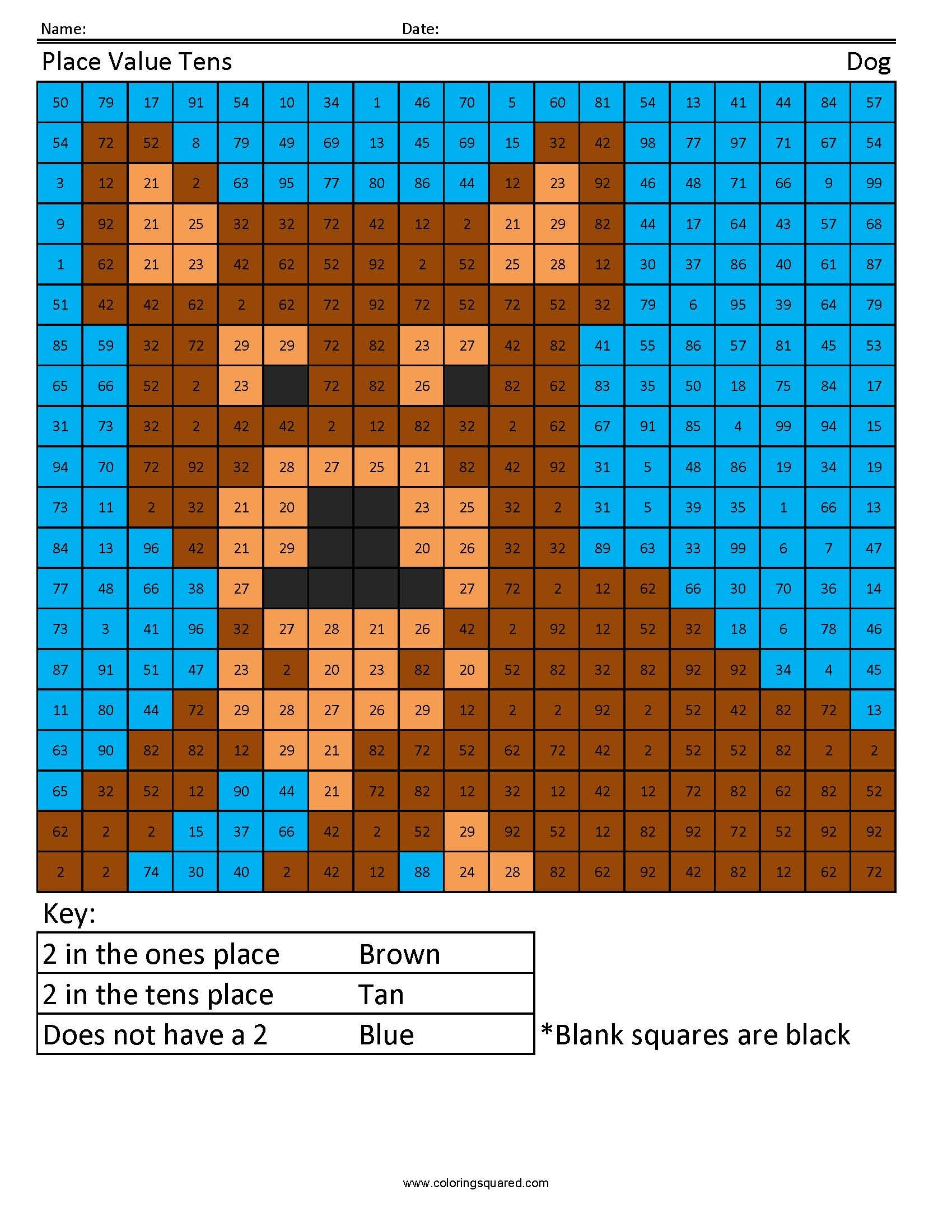 1st Grade Math Place Value Dog