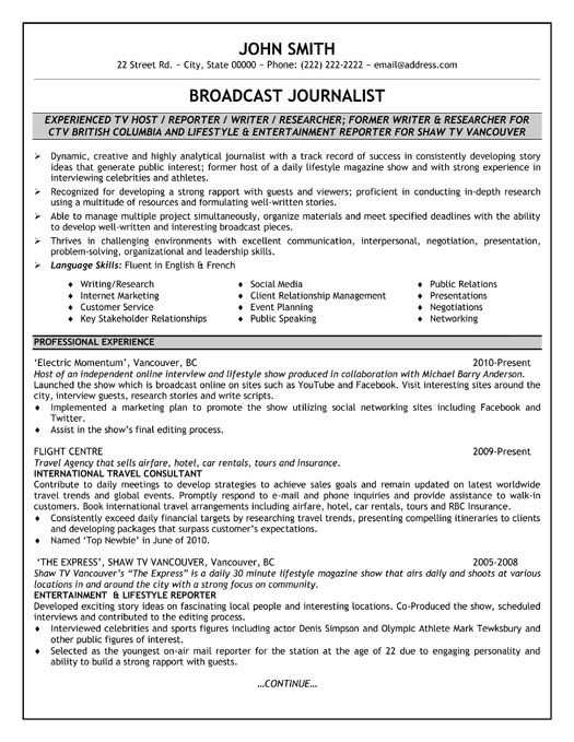 Click Here To Download This Broadcast Journalist Resume Template