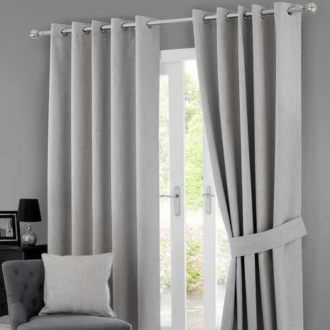 Grey Solar Blackout Eyelet Curtains   Patio  Pinterest