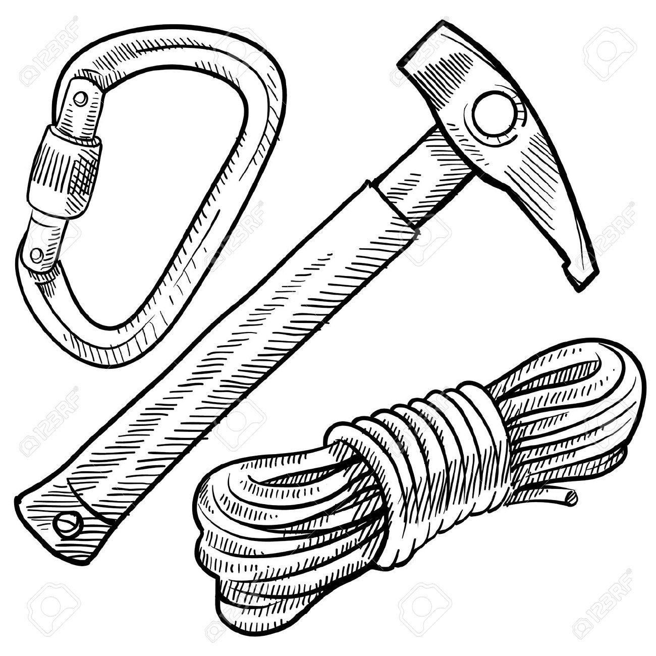 Doodle Style Mountain Climbing Gear Including Rope Pick And