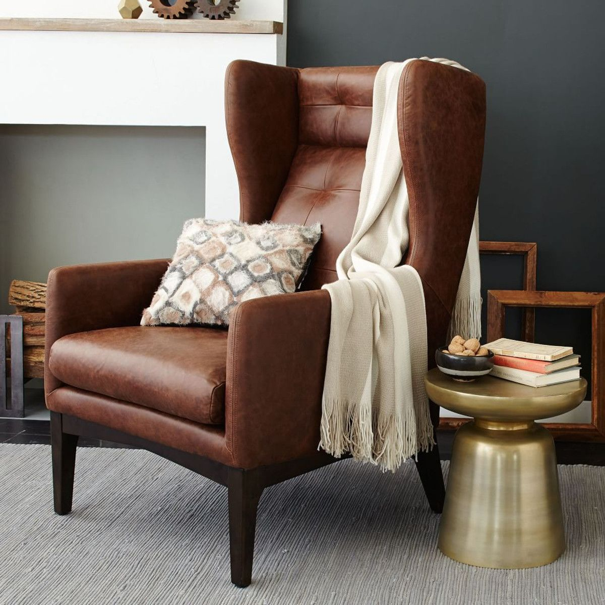 leather wing chair uk arm pads brown wingback and brass side table excited