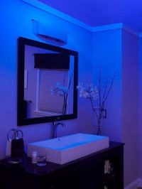 NuTone LunAura Blue Glow: bathroom exhaust fan, ceiling