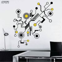 Wall decals TECH SHAPES Abstract shapes vinyl art stickers ...