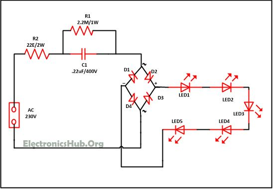 Mains Operated LED Light Circuit Working And Advantages Circuit