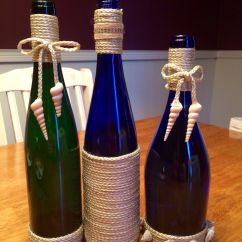Wine Bottle Themed Kitchen Decor Moen Faucet With Pull Out Sprayer Twine Wrapped Bottles Beach Recycled