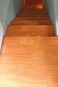 Wood like tile stairs