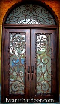 Tuscani square top wrought iron door with round transom ...