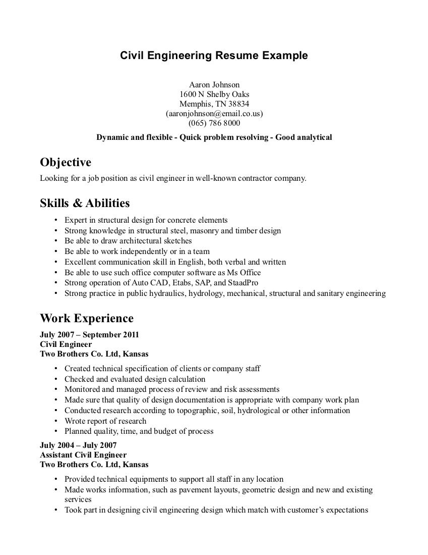 Resume Examples For College Students Engineering Resume Outline