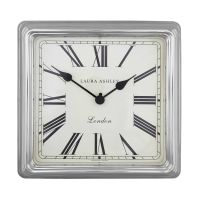 Square Silver Finish Wall Clock at Laura Ashley