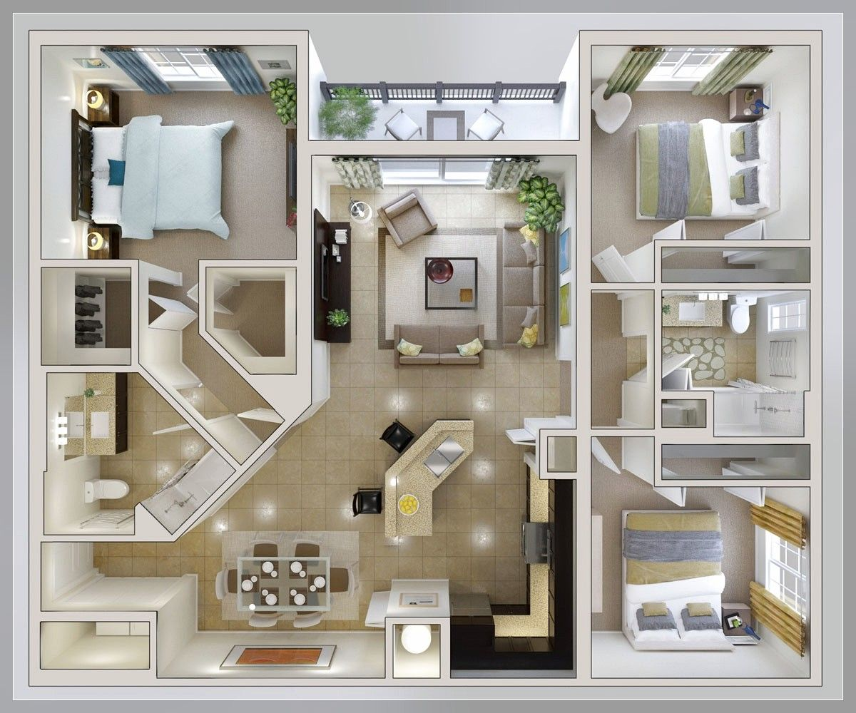 "50 Three ""3"" Bedroom Apartment House Plans Apartment Floor Plans"