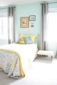 Aqua, grey and yellow... This is legitimately my room ...