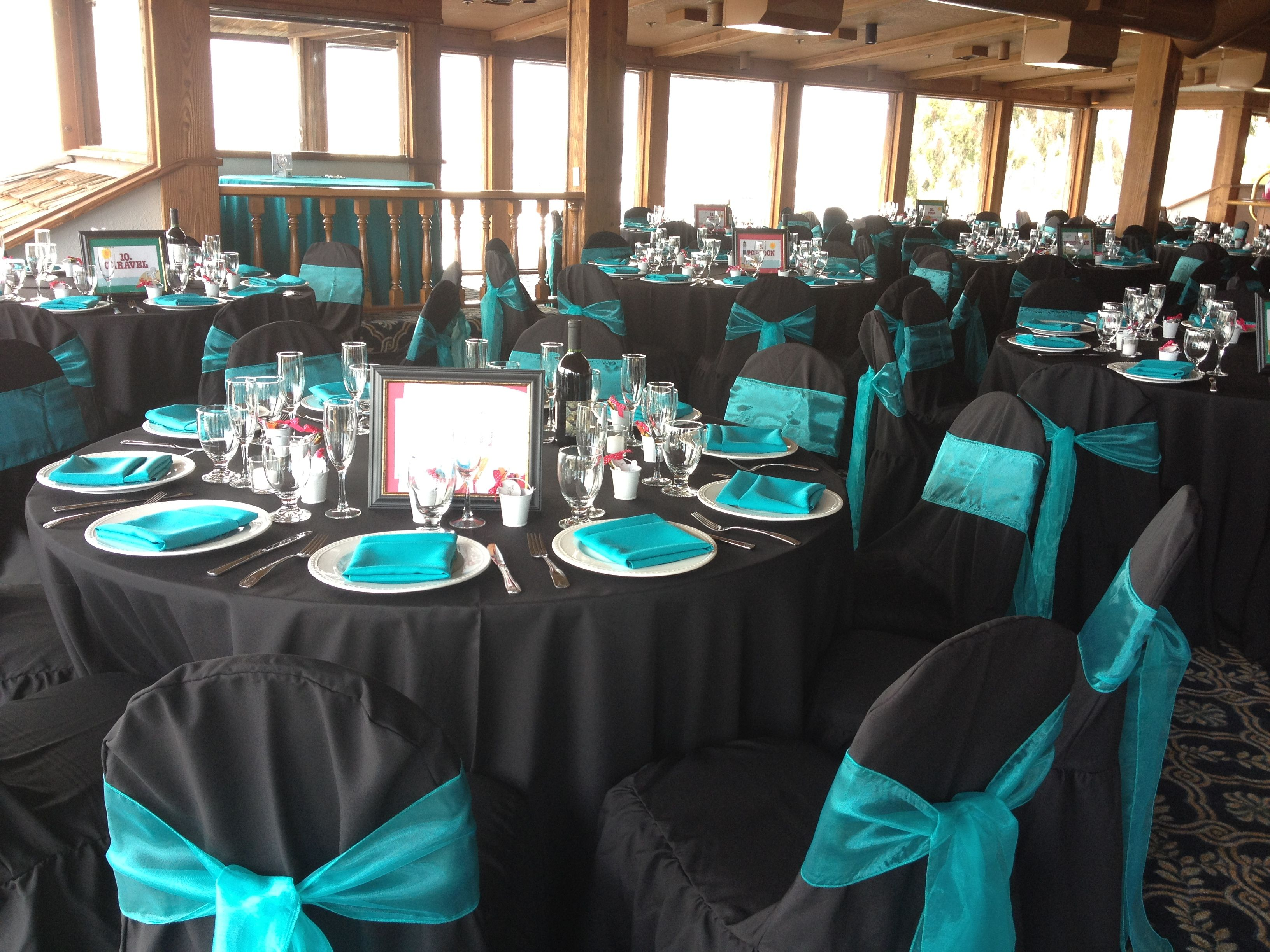 teal chair covers for wedding swivel hub liner marina village venue black linens with turquoise napkins