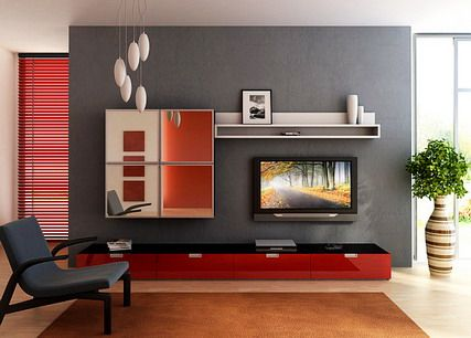 Elegant TV Stand Furniture In Small Modern Living Room Interior