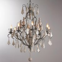 Painted Crystal Wood Finial Chandelier Painted French ...