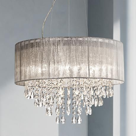 Possini Euro Metairie 20 W Silver Fabric Crystal Chandelier