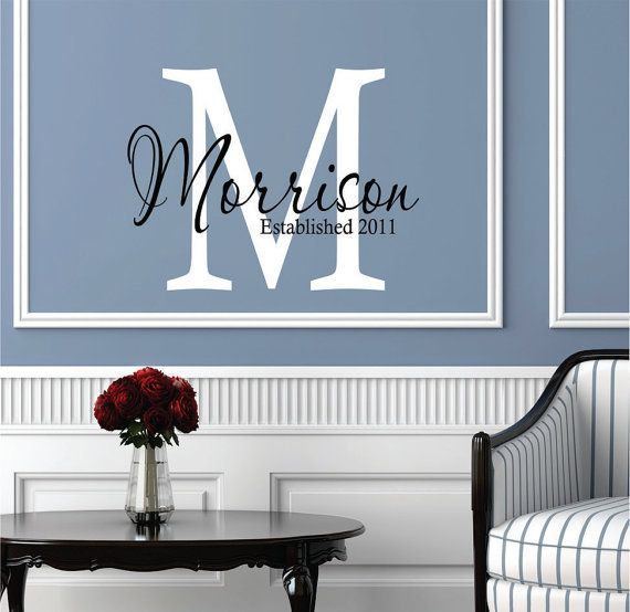 Wall decals personalized family name wedding decor livingroom decal on also rh pinterest