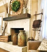 Rustic painted fireplace | Bless This Nest Blog ...