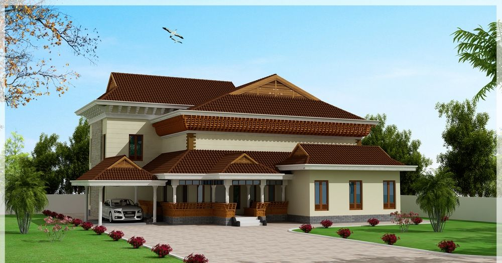 1x1 Trans Traditional And Beautiful Kerala House Elevation At 3186