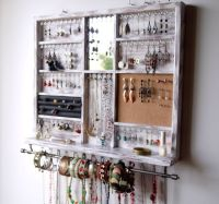 Jewelry holder. Large earrings display shelf. White