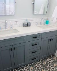Beach house bathroom remodel - Frosty Carrina quartz ...