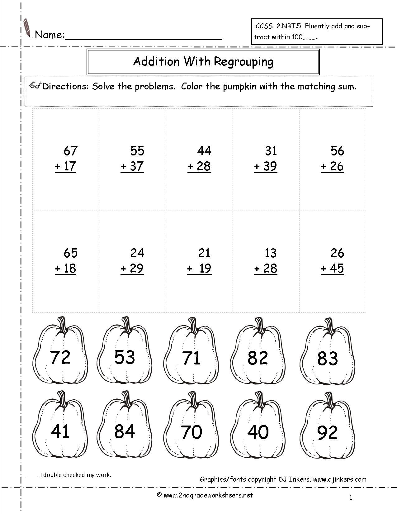2 Digit Addition With Regrouping Worksheet 2nd Grade