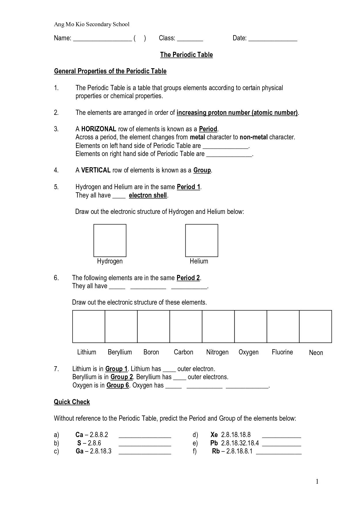 Periodic Table Worksheet High School