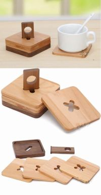 Wood Coaster Set of 4 with Holder | Kitchen & Dining Ideas ...
