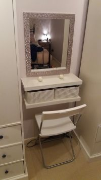 DIY dressing table. 2 floating shelves, crates, seat and