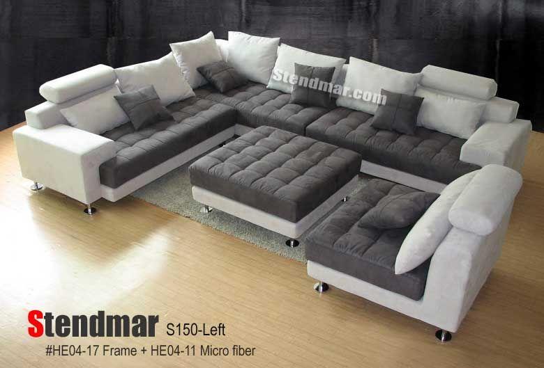 Stendmarcom 5pc modern 2tone microfiber sectional sofa