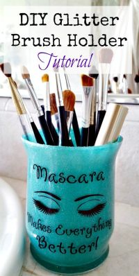 DIY Glitter Brush Holder Tutorial | Brush holders, Frugal ...