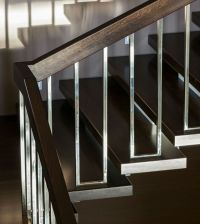 dark brown and chrome modern stair rails | STAIRS ...