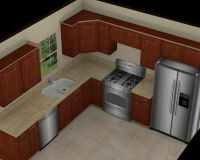 Kitchen: Great 10x10 3D Kitchen Design With Brown Cabinet