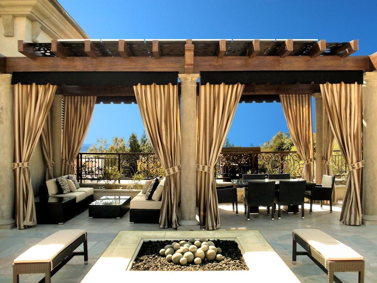 italian outdoor patio with elegant outdoor curtains