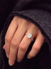 Dream ring: 2 carat oval set in a rose gold, thin, diamond ...