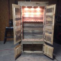Gun cabinet made from pallets. Could use chicken wire on ...
