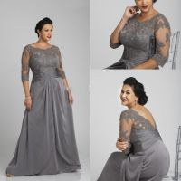 Long Mother of the Bride Dresses 2015 Floor Length Silver ...