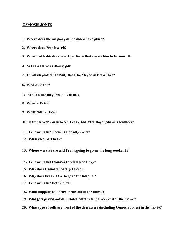 Movie Quiz: Osmosis Jones Worksheet