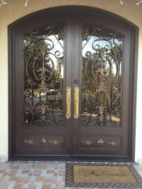 Exterior, Nice Black Double Entry Door With Glass And