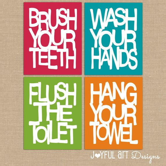 kids bathroom wall art. bathroom rules. brush wash flush hang