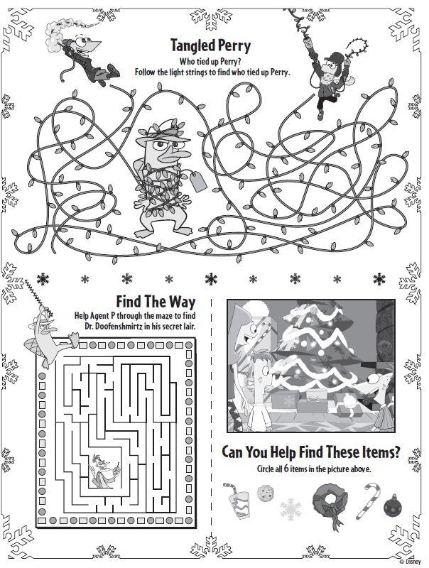 Phineas Ferb Christmas Printable Activities : Printables