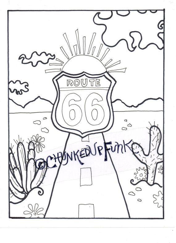Printable Coloring Page, Route 66, Arizona, Texas, Santa