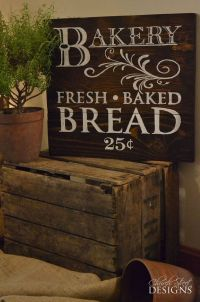 French Country Kitchen Decor - Vintage Bakery Sign - Fresh ...