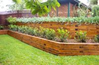 Timber Sleeper Retaining Wall | Backyard | Pinterest ...