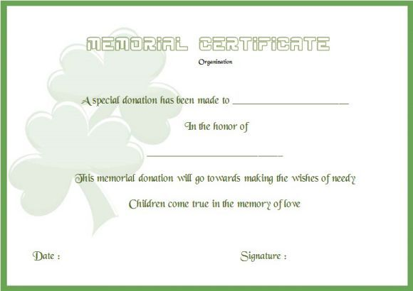 Donation In Memory Of Certificate Template Donation