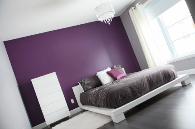 Purple and grey bedroom ideas wallsaccent also bed room pinterest gray rh