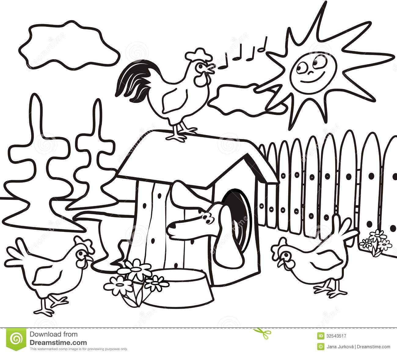 Dachshund Coloring Book Kids Dog Cock Hens