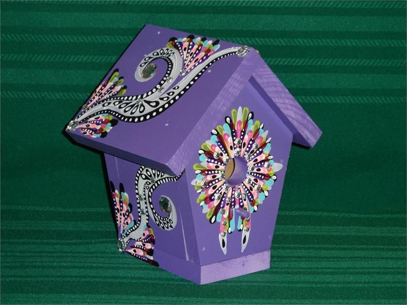 Painted Bird Houses Hand Painted Bird House Purple With Jewels