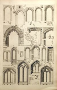 1845 Rare Large English Antique Engraving of doorways and