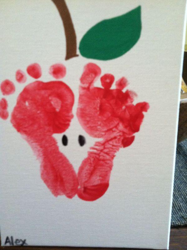 Infants Footprint Apple Crafts